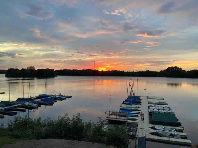 Sonnenuntergang vom Vereinsheim